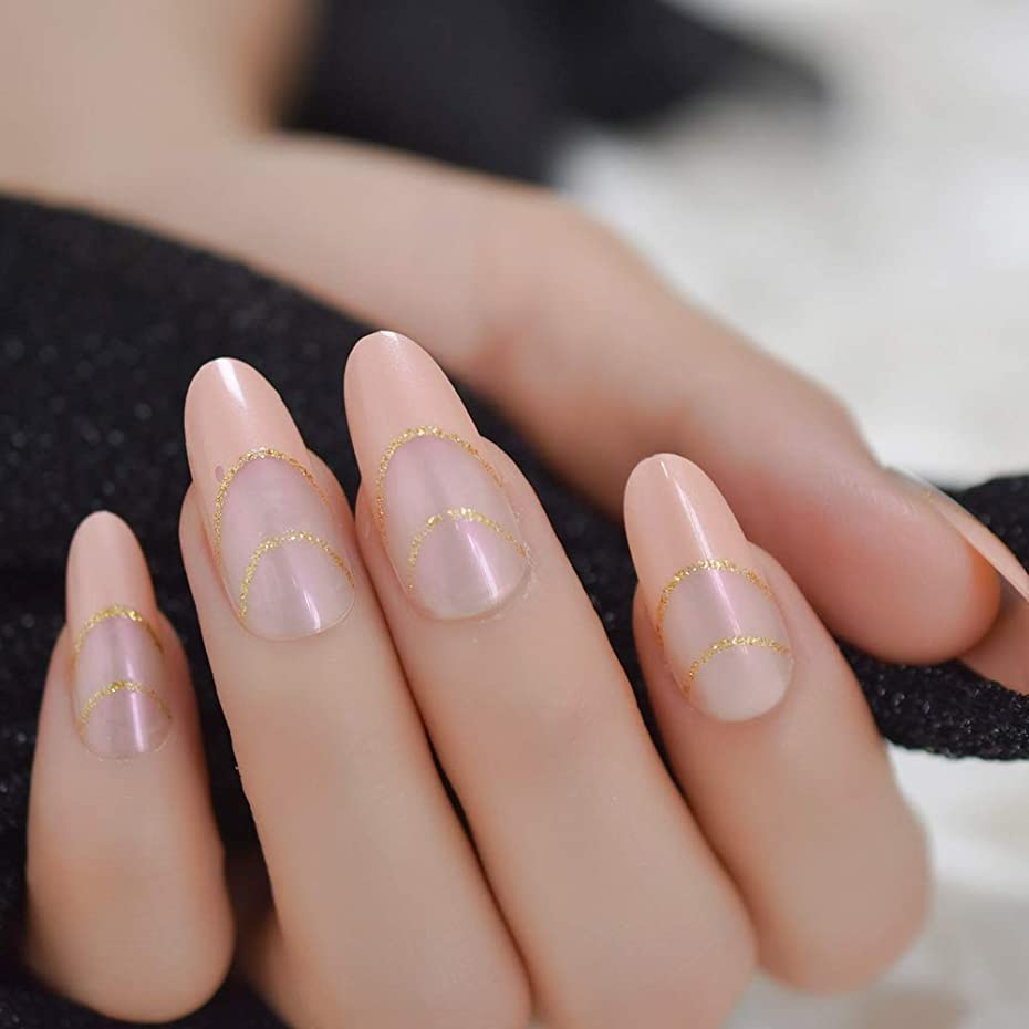世界記録のギネスブック内部一般的に言えばXUTXZKA 指のためのマニキュアアートのための裸のピンクのヒントロングラウンド偽ネイルピンクがかったゴールドラメの偽ネイルフォーム