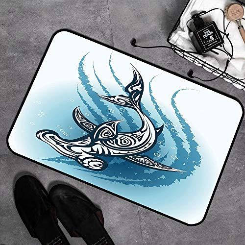 Tappeti da Bagno a Pelo Lungo Antiscivolo 40 x 60 cm,Squalo, pesce martello con effetti etnici ornamentali N,Tappetino Lavabile in Lavatrice con Microfibre Morbide Assorbenti per Vasca, Doccia e Bagno