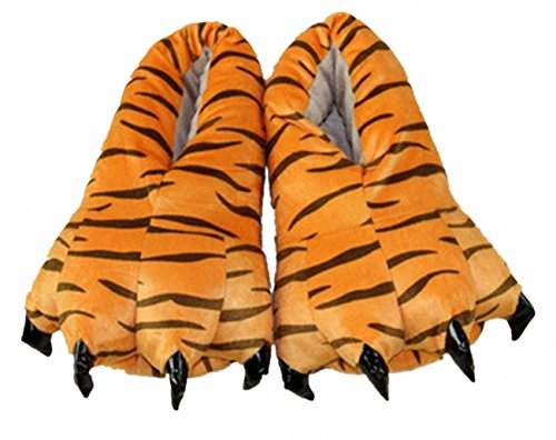 Akanbou Cosplay Monster Paw Plush Slippers Monster Feet Claw Slippers Home Shoes for Adults and Children (Women US 4.5-8.5, Tiger)