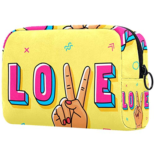 Large Makeup Bag Zipper Pouch Travel Cosmetic Organizer for Women and Girls Peace Love Yellow