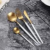 Jsx Posate di lusso in Acciaio inossidabile 304, posate da 4 pezzi, Incluso un Set di cucchiai per coltelli da forchetta (Nero e dorato),Blanco