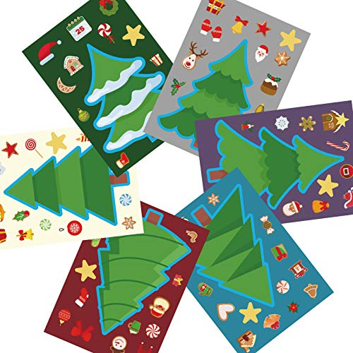 MISS FANTASY 30 PCS Make a Christmas Tree Stickers ,Christmas Activities for Kids Christmas Wall Stickers Decals for Kids DIY Craft Christmas Games Xmas Party Favors for Toddler Kids