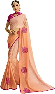 Indian Ethnic Gorgeous Colour Combination Saree With Collar Designer Blouse Sari Hit Party Wear Collection 7370