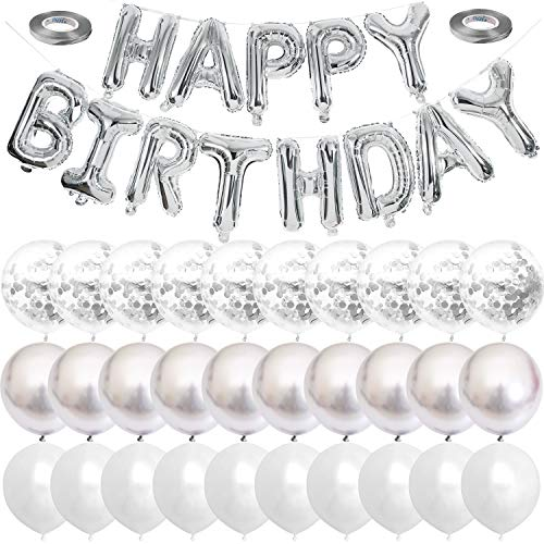 Silver Happy Birthday Balloons Banner White And Silver Confetti Balloons for Birthday Party Decorations