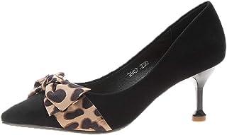 [ムリョシューズ] ポインテッドトゥ ミドルヒール パンプス 痛くない 黒 レオパード柄 レディース 6.5cmヒール ピンヒール 美脚 歩きやすい 走れる 結婚式 入学式 スエード ブラック ヒョウ柄 靴 オフィス 通勤用 お呼ばれ