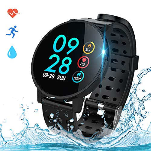 COULAX Smartwatch Fitness Armband Uhr IP67 Wasserdicht 1,3 Zoll Uhr Voller Touch Screen Fitness Tracker Sportuhr mit Pulsmesser Schlaftracker Stoppuhr für Damen Herren Smart Watch für iOS Android