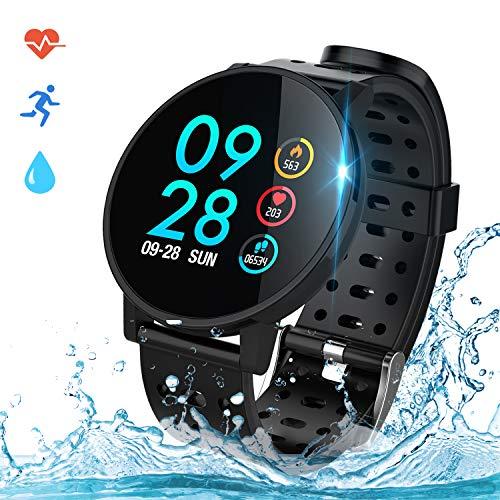 COULAX Smartwatch Fitness Armband Uhr IP67 Wasserdicht 1,3 Zoll Uhr Voller Touch Screen Fitness Tracker Sportuhr mit Pulsmesser Schlaftracker Stoppuhr für Damen Herren Smart Watch für iOS Android