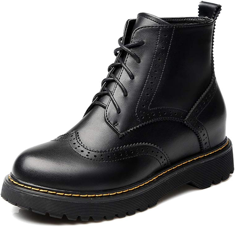 HPLL Schuh Damen Martin Stiefel, Schnürstiefeletten, schwarzes Motorrad, Outdoor Wasserdichte Schuhe 35-40