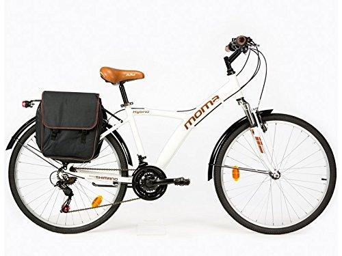 MOMA BIKES Hybrid 26 Fahrrad, Weiß, One Size
