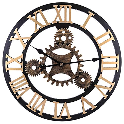 YUN Clock@ Vintage Wanduhr 58cm Kreativhaus 3D handgefertigt Wohnzimmer Retro LOFT Industrie Wind großes Zahnrad Dekoration,Gold