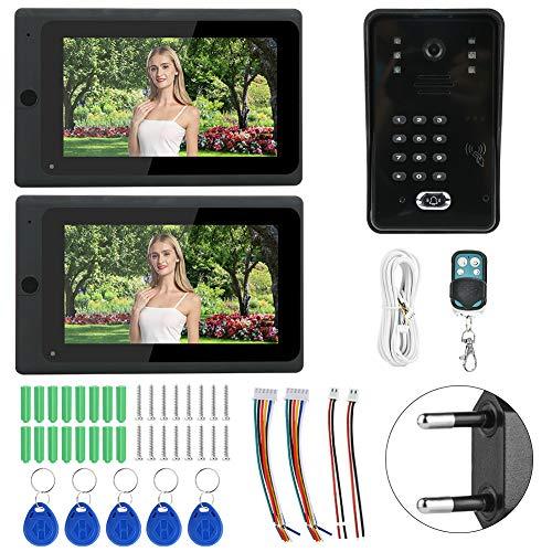 xianshi RFID-Türklingel, Smart TFT LCD-Bildschirm 2 Monitore Kabelgebundene Türklingel, regensichere öffentliche Gebäude(European regulations)