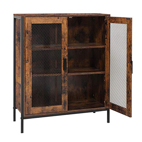 USIKEY Floor Storage Cabinet, Buffet Sideboard with 2 Mesh Doors & 1 Adjustable Shelf, Industrial Cupboard with 3 Compartments, Free Standing Cabinet for Living Room, Entry, Kitchen, Rustic Brown