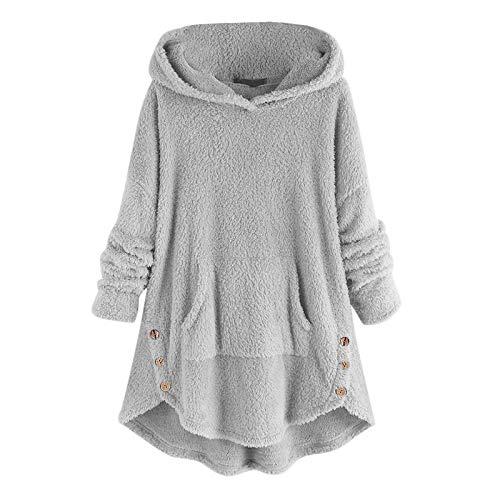 BUKINIE Damen Sherpa Pullover Fuzzy Fleece Hoodies Sweatshirt Oversized Pockets Hooded Plush Sweater Jumper Outwear Gr. 4X-Large , grau
