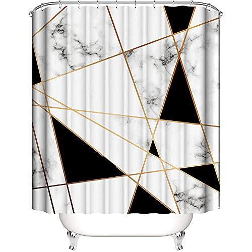 Nitwy Abstrakter geometrischer Marmor-Duschvorhang schwarz & weiß rissiges Muster Marmortextur Badezimmer-Vorhang-Set 183 x 183 cm wasserdichter Stoff Badewannen-Dekor mit 12 Haken