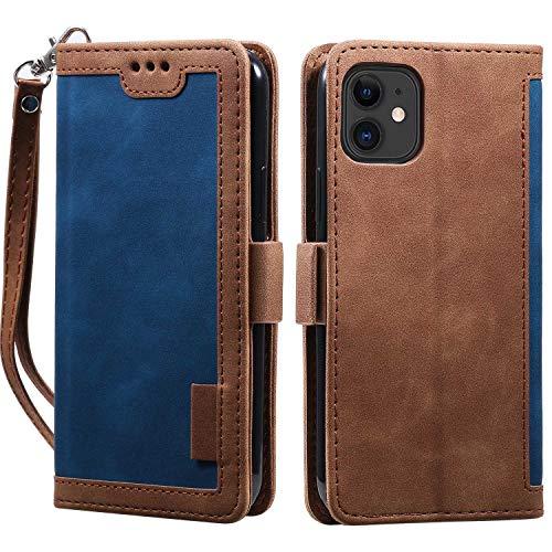 LAFCH Handyhülle iPhone 11 Hülle, Premium PU Leder Flip Schutzhülle für iPhone 11 mit Karteneinschub und Magnetverschluss, Blau