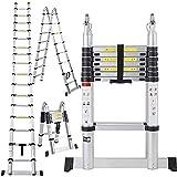 16.5 Ft Aluminum Telescopic Ladder Telescoping A-Type Extension Multi Purpose