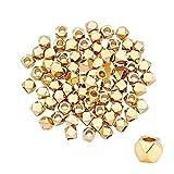 PandaHall 100 pcs d'or Perles de Cube, Laiton Perles Intercalaires Breloques Carrées pour la Fabrication de Bijoux d'artisanat de Bracelet de Collier, Trou 1.2mm