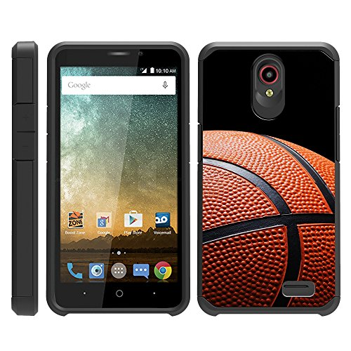 TurtleArmor | Compatible with ZTE Prestige 2 Case | ZTE Maven 3 Case | ZTE Overture 3 Case | Hard Shell Hybrid Fitted TPU Case Sports and Games - Basketball Seams