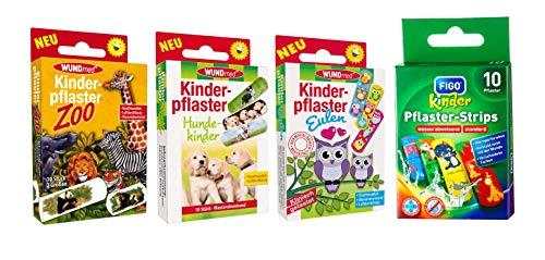 Kinderpleister/pleisters/strips voor kinderen in set - met leuke kleurrijke motieven selecteerbaar: bont - dieren - cartoon - avontuur/voor jongens Dieren 40 stuks