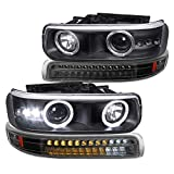 Spec-D Tuning Black Housing Clear Lens LED Halo Projector Headlights + LED Bumper Lights for 2000-2006 Chevy Silverado 99-02 Tahoe Suburban L+R Pair
