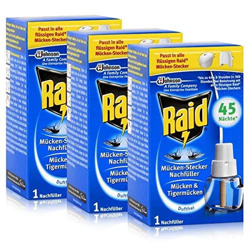 3 x Raid® Nachfüller für Mücken-Stecker/ gegen Mücken und Tigermücken/3 mal für 45 Nächte x 8 Std.