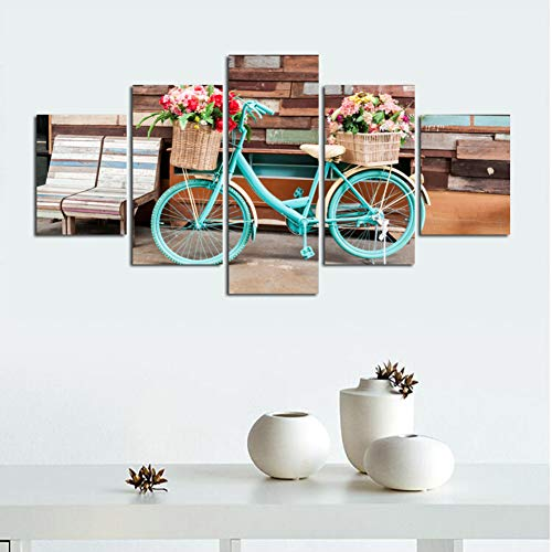 SLFWCLH 5 Pictures Wall Art Pictures Canvas Posters 5 Pcs Flower Basket Module Scenery Bike Home Decoration Abstract Paintings Printed Photo No Frame Modern Fashion Poster Modular Mural