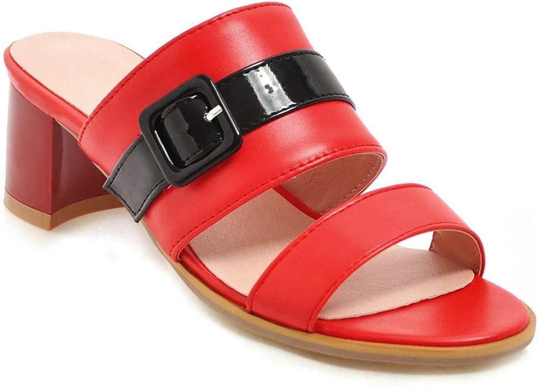 SaraIris Women's Open Toe Chunky Mid Heel Mule Slip On Sandals
