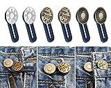 Elastico in vita con bottoni, senza cuciture, elastico in metallo, per uomo o donna, per jeans, collari, polsini, pantaloni kaki e abiti, 6 pezzi