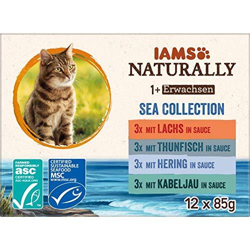 IAMS Naturally Katzenfutter Nass in Sauce, hochwertiges Nassfutter mit Fisch für erwachsene Katzen, Sea Collection, 12 x 85 g