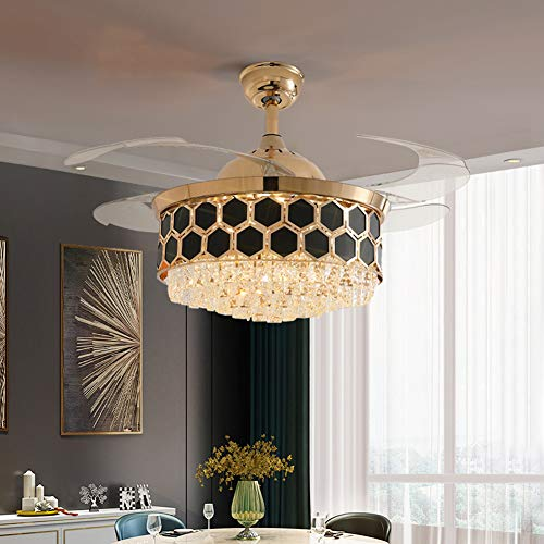 Orillon Contemporary Chic Crystal Chandelier Fan Indoor Luxury Hiding Quiet 42 Inch Polished Gold Retractable Ceiling Fan Light Reversible LED 3 Color Setting, Dual Control-Wall and Remote Control