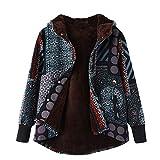 Cappotti Invernali da Donna - Donne Plus Size Giacche da Donna Caldo Outwear Bohemian Floreale Stampa Concappucciata Tasche Vintage Oversize Cappotto(Multicolore,M)