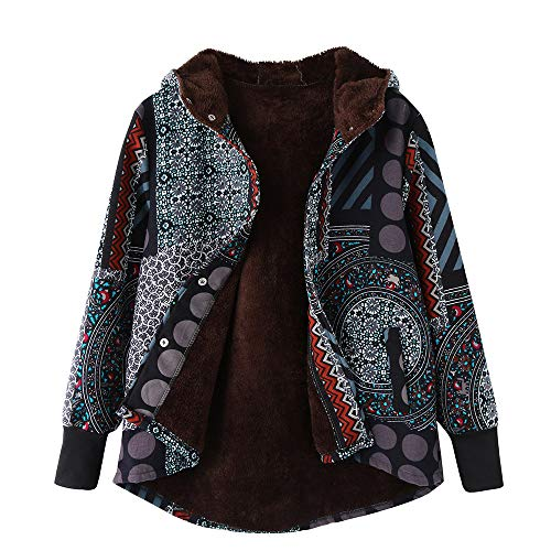 NEEKY Damen Winter Warme Jacke Outwear Lässiger Print Taschen Kapuze Oberbekleidung Frauen Vintage Oversize Hasp Mäntel(EU:44/L, Mehrfarbig)