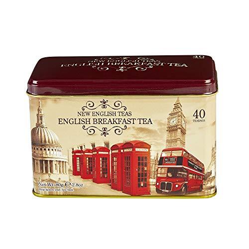 New English Teas - English Breakfast Tea 40 Tea Bags - British Vintage Tin