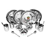 cWc Stainless Steel 20 Pcs Dinnerware Set Of Unbreakable Stainless Steel Plates , Unbreakable Stainless Steel Bowls , Unbreakbale Stainless Steel Glasses For A Camping Mess Kit