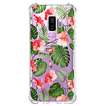 Tropical Galaxy S9 Plus Case for Summer Clear with Palm Tree Leaf Design Shockproof Protective Floral Cell Phone Cover for Samsung Galaxy S9 Plus 6.2 Inch Flowers Pattern Flexible Case for Girls