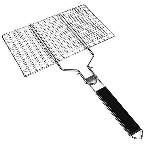 1set Griller Panier, barbecue portable Grill net Clamp pliable 430 barbecue en acier inoxydable Grill panier rôti avec poignée en bois amovible et facile Sac de transport (32x 22cm)