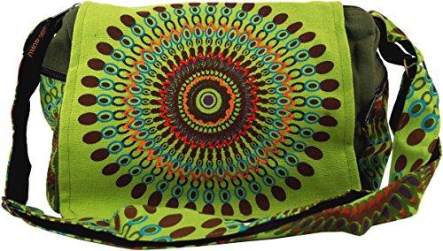 GURU SHOP Schultertasche, Hippie Tasche, Goa Tasche - Grün, Herren/Damen, Baumwolle, Size:One Size, 23x28x12 cm, Alternative Umhängetasche, Handtasche aus Stoff