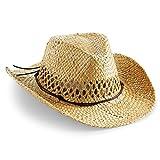 noTrash2003 Sombrero de vaquero hecho a mano, sombrero de paja de verano, sombrero del oeste en talla única con banda para el sudor y banda de cuero