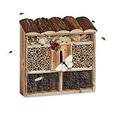 Relaxdays Hôtel à Insectes en Bois à Suspendre abri Abeille Refuge Papillon Grillage HxlxP: 31 x 30,5 x 9,5 cm, Nature, 9,5x30,5x31 cm