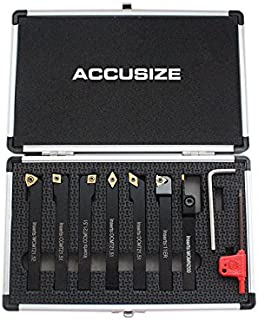 Accusize Industrial Tools 3/8'' Shank 7 Pc Indexable Carbide Turning Tool Set in Fitted Box, 2387-2003