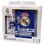 Real Madrid Set papelería en Caja Accesorios de Sobremesa Complementos de Oficina, Multicolor (Multicolor)
