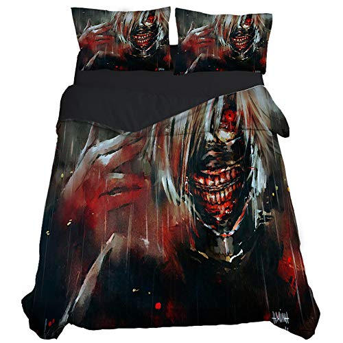 KYNWCLRW Cotton Double Duvet Cover, 3D Digital Print Tokyo Ghoul Duvet Sets, Premium Polyester-Cotton Fashion Printedduvet Cover And Pillowcase Set, For Kids (220X220Cm)