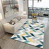 WJTHH Alfombra moderna tradicional lavable alfombra moderna alfombra de dormitorio diseño moderno paralelograma rayas alfombra durable alfombra habitación infantil 60 x 160 cm