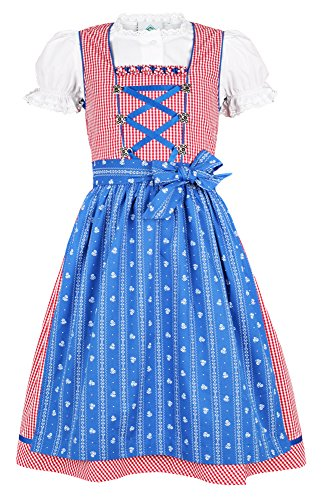 Isar-Trachten Kinder Dirndl Pauline - Rot Blau - Gr. 104