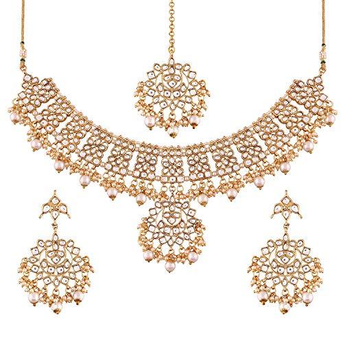Aheli Indian Traditional Maang Tikka with Kundan Necklace Earrings Set Ethnic Wedding Party Designer Jewellery for Women