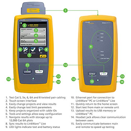 Fluke Networks DSX2-8000 CableAnalyzer Copper Cable Certifier for Category 5, 5e, 6, 6A & 8 Twisted-Pair cabling, 2 GHz, Touchscreen, LinkWare Reporting, includes Permanent Link & Channel Adapters