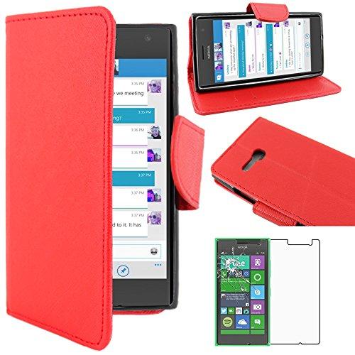 ebestStar - Cover Compatibile con Nokia Lumia 735 730 Dual Custodia Portafoglio Pelle PU Protezione Libro Flip, Rosso + Pellicola Vetro Temperato [Apparecchio: 134.7 x 68.5 x 8.9mm, 4.7'']