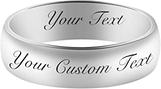 4MM/6MM Stainless Steel Personalized Band Ring Custom Engraved Name Domed Top Promise Ring Wedding Band for Men Women