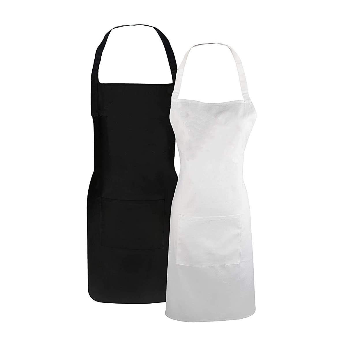TSD STORY Couples Cooking Aprons 2PCS Set Couple Gift Bib Apron Newly Engaged Gifts for Wedding Engagement Anniversary (Black+White)