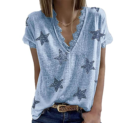 Camiseta de Manga Corta de Verano para Mujer Top Top con Cuello en V Estampado de Estrellas Blusa con Adornos de Encaje Informal